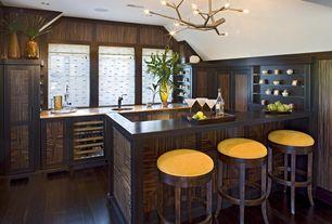 Contemporary Bar with Casement, Crown molding, Standard height, Chandelier, can lights, Hardwood floors