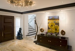Contemporary Entryway with picture window, Standard height, Crown molding, Chandelier, can lights, French doors