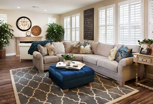 Traditional Living Room with Interior plantation shutters, Casement, Paint, Trellis rug, Fireplace, Cement fireplace