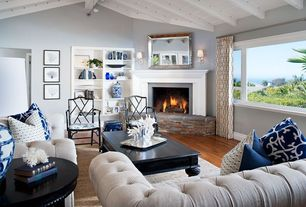 Contemporary Living Room with High ceiling, Jonathan adler - chippendale arm chair black, Exposed beam, Paint, can lights
