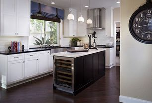 Contemporary Kitchen with Ms international absolute black granite, Large Ceramic Tile, Kitchen island, Shaker style cabinets