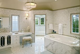 Traditional Master Bathroom with Raised panel, Wall sconce, Undermount sink, Master bathroom, flush light, Inset cabinets