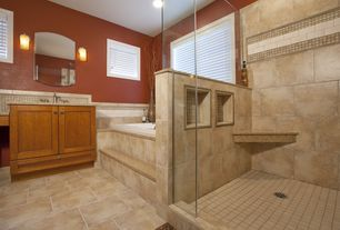 "Craftsman Master Bathroom with Daltile Continental Slate 18"" x 12"" Field Tile in Persian Gold, simple granite tile counters"