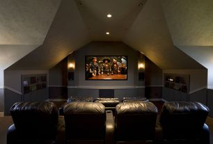 Modern Home Theater with Paint 3, Wall sconce, High ceiling, Built-in bookshelf, Paint, Paint 2, Chair rail, Carpet