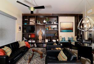 Contemporary Living Room with Carpet, Husk White/Black Area Rug by Hokku Designs, Built-in bookshelf, High ceiling