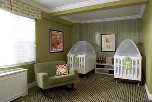 Traditional Kids Bedroom with Box beam ceiling with crown molding, High ceiling, Crown molding, interior wallpaper, Carpet