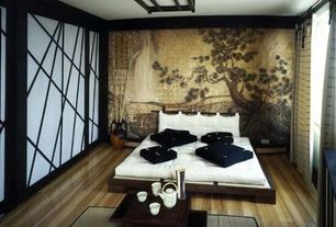 Asian Master Bedroom with Bamboo flooring, Tatami mat, Shoji screen door, Asian-inspired wall mural, Platform bed