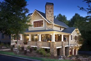 Craftsman Exterior of Home with Eldorado Stone Autumn Leaf RoughCut, Pathway, Raised beds, Trellis