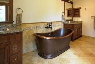 Craftsman Master Bathroom with Undermount sink, Simple granite counters, Double sink, Flat panel cabinets, Inset cabinets