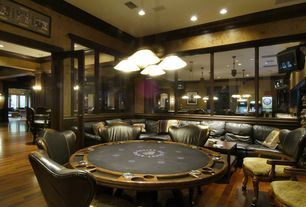 Craftsman Game Room with Pendant light, Danny hillsborough reversible top poker & dining table, Crown molding, French doors