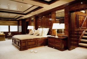 Traditional Master Bedroom with Wainscotting, Box ceiling, Built-in bookshelf, Carpet
