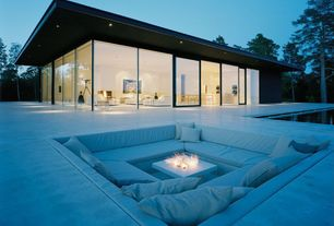 Contemporary Patio with Infinity pool, Outdoor sunken lounge area, exterior tile floors, Slate balcony, Fire pit