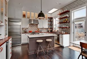 Contemporary Kitchen with Copper counters, V19c adjustable height bar stool by district eight design, Flat panel cabinets