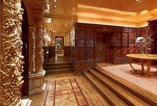 Hallway with Inlaid wood floor, English tudor, Lacquered walls and ceilings, Foyer, Custom area rug, English manor