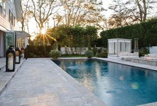 Contemporary Swimming Pool with exterior stone floors, Fire pit, French doors, Lap pool, Arbor, Fence