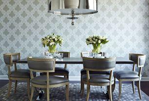 Contemporary Dining Room with Hardwood floors, interior wallpaper, Standard height, flush light
