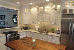 Traditional Kitchen with can lights, Flat panel cabinets, Pental bahia rio polished granite, Mini subway tile, Kitchen island