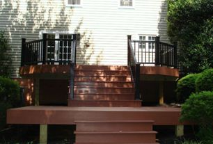 Contemporary Deck with exterior stone floors, French doors, Deck Railing, double-hung window