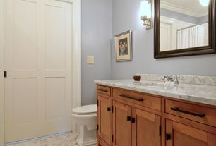 Craftsman Full Bathroom with Flat panel cabinets, Inset cabinets, Wall sconce, specialty door, Pendant light, Undermount sink