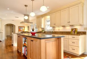 Traditional Kitchen with Pendant light, Flat panel cabinets, One-wall, Built-in bookshelf, Undermount sink, Kitchen island
