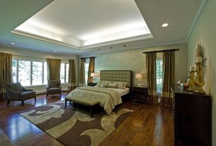 Art Deco Master Bedroom with High ceiling, interior wallpaper, can lights, Casement, Hardwood floors