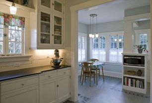 Traditional Kitchen with Slate counters, European Cabinets, Inset cabinets, Subway Tile, Glass panel, Flat panel cabinets