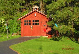 Cottage Garage with Glass panel door, Concrete floors, Wall sconce