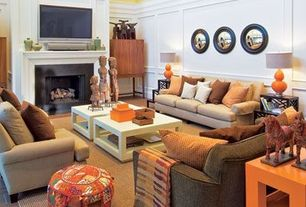 Contemporary Living Room with Lamps plus celosia orange double gourd table lamp, Concrete tile , Wainscotting, High ceiling