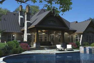 Craftsman Swimming Pool with exterior stone floors, French doors, double-hung window, Transom window, picture window