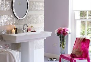 Contemporary Full Bathroom with Premium quality white mother of pearl natural sea shell mosaic tile, Paint