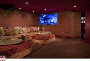 Mediterranean Home Theater with West elm printed essex ottoman, West elm walton 4-piece sectional