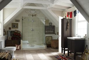 Eclectic Master Bathroom with Wainscotting, Wildon home union jack blue/red novelty area rug, interior wallpaper, Rain shower