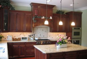 Traditional Kitchen with Undermount sink, Standard height, electric cooktop, double wall oven, Framed Partial Panel, L-shaped