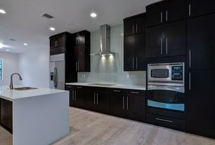 Contemporary Kitchen with Simple marble counters, Arctic ice subway 12 in. x 12 in. x 8 mm glass mesh-mounted mosaic tile