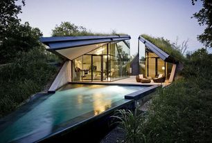 Modern Swimming Pool with Underground eco house split into living and sleeping halfs