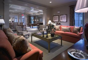 Traditional Living Room with High ceiling, Crown molding, Casement, can lights, Carpet