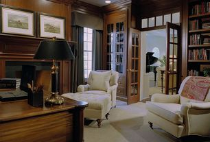 Contemporary Home Office with Crown molding, Transom window, Built-in bookshelf, Carpet, French doors