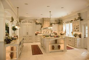 Mediterranean Kitchen with Large Ceramic Tile, Arched window, Columns, U-shaped, Glass panel, Flat panel cabinets