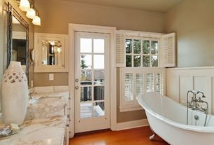 Traditional Master Bathroom with Wainscotting, Feiss delaney 3 light bath vanity light, French doors, Flush, Glass panel