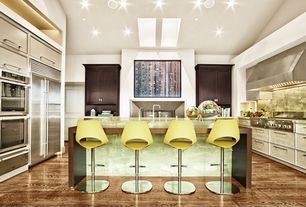 Contemporary Kitchen with Skylight, Breakfast bar, Inset cabinets, Complex granite counters, Raised panel, Undermount sink