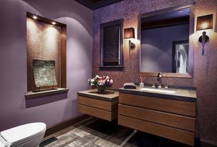 Modern Powder Room with Chic sophisticate crystal torch wall sconce, terracotta tile floors, Wall sconce, Powder room