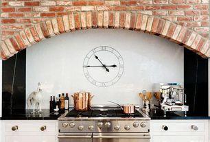 Cottage Kitchen with Daltile sierra 8 x 8 plain ceramic tile in black, Custom hood, Inset cabinets, Large Ceramic Tile