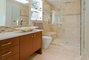 Contemporary 3/4 Bathroom with double-hung window, Flush, frameless showerdoor, European Cabinets, Shower, Standard height