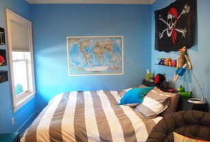 Contemporary Kids Bedroom with National Geographic World Political Map (Classic), Poster Size, Crown molding, Carpet