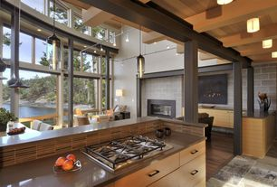 Contemporary Kitchen with Pendant light, Breakfast bar, European Cabinets, Breakfast nook, Concrete counters, flush light