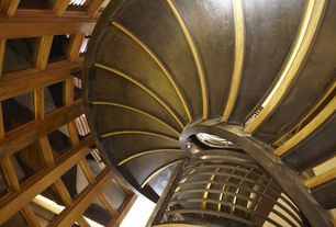 Modern Staircase with Spiral staircase, Laminate floors, Cathedral ceiling