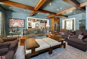 Eclectic Living Room with Box ceiling, French doors, Hardwood floors, Exposed beam