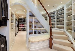Traditional Closet with Built-in bench seating, Archway, Woman's shoe storage open shelving, Closet shelving, Carpeted stairs