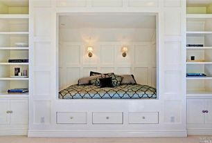 Contemporary Guest Bedroom with Style Selections Brushed-Satin Nickel Mushroom Cabinet Knob, DIY Custom Alcove Bed