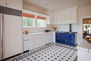 Cottage Kitchen with two dishwashers, Large Ceramic Tile, L-shaped, Raised panel